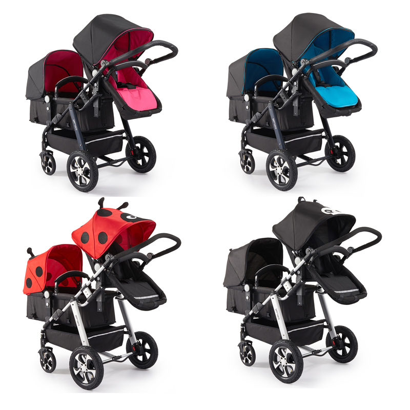 Aliexpress Direct !2019  luxury double stroller can sit high landscape folding umbrella four wheel double stroller quality cart Pakistan