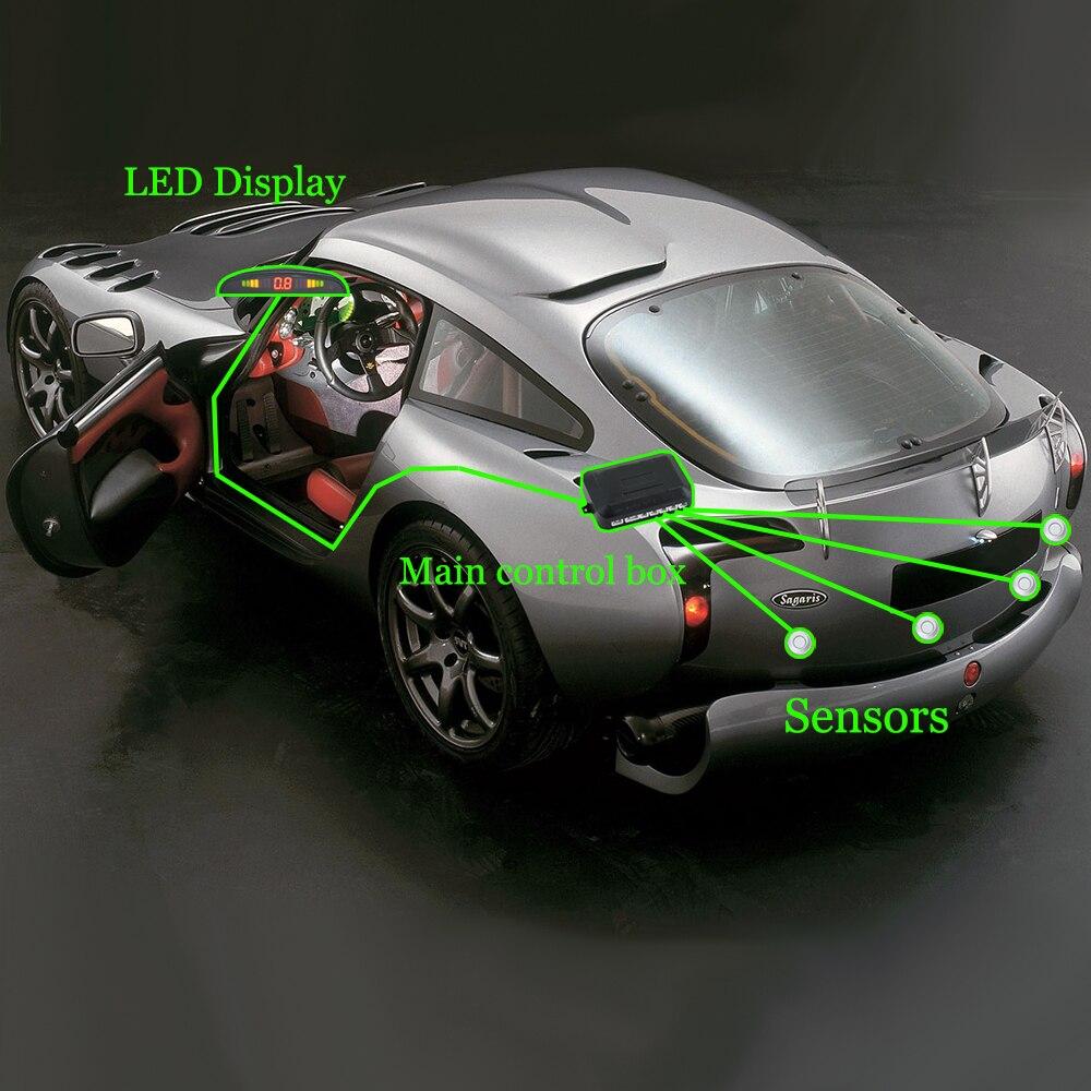 Светодиодный датчик парковки с 4 Датчики Авто парктроник обратный 8 цветов резервный Парковка Радар монитор детектор Система подсветки дисплея
