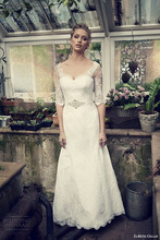 2014 New Fashion High Quality A line Sweetheart Neck Lace Crystals Wedding Dress Bridal Gown Custom Made Size