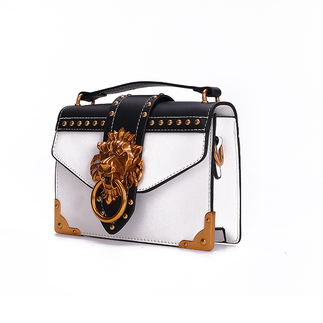 Fashion Metal Lion Head Mini Small Square Pack Shoulder Bag For Women