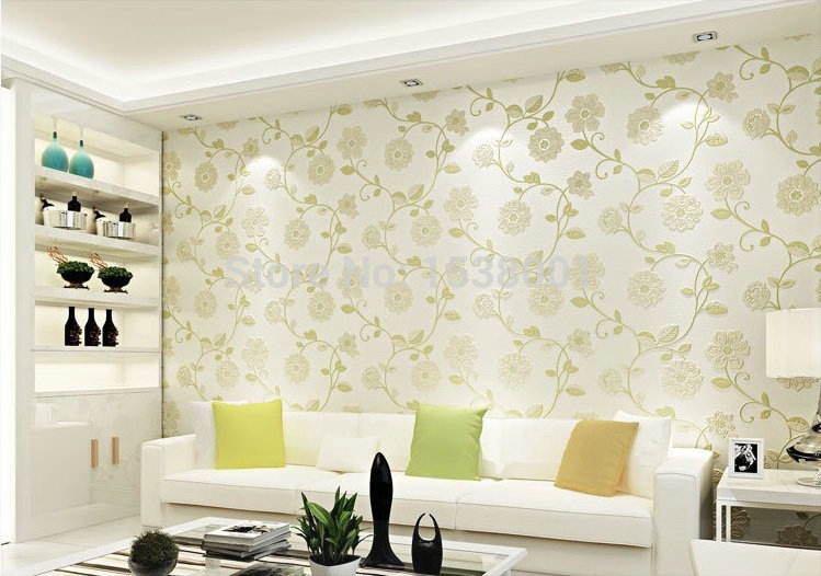 European Simple Wallpaper Green Leaf Design Non Woven