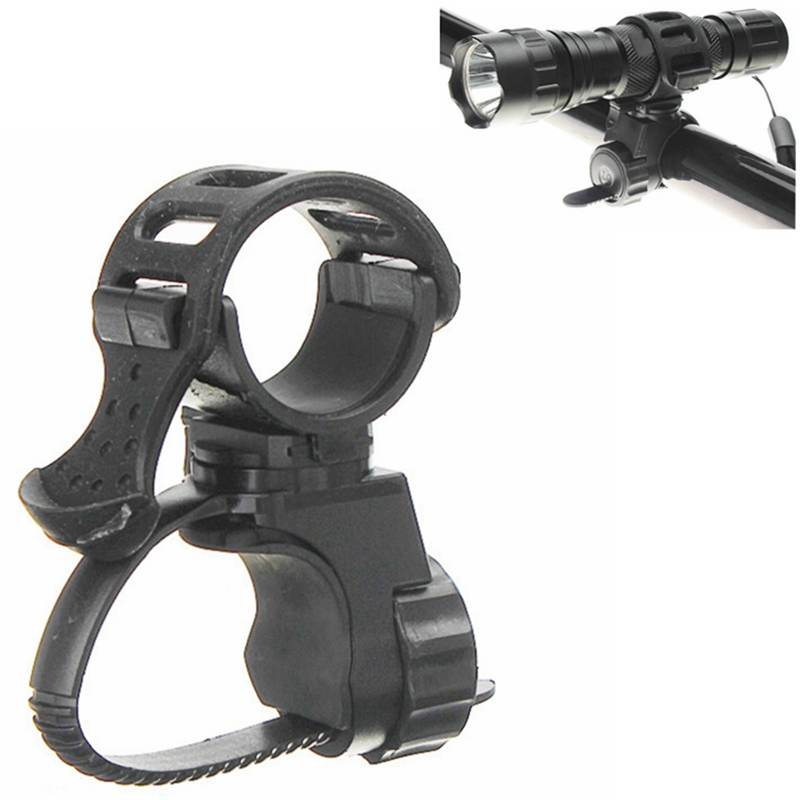 Black 360 Degree Bike Bicycle Flashlight Torch Mount Holder Clamp Clip Adjustable Light Lamp Holder Clip
