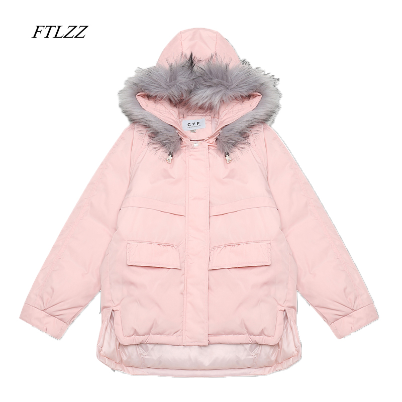 FTLZZ New Fashion woman's Faux Fur Collar Short   Parkas   Loose Down Cotton Coats Winter Women Hooded Jackets XL Snow Outwear