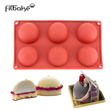 6 Cavity Half Circle Shaped 3D Silicone Baking Cake Mold for Making Chocolate Desserts Decoration