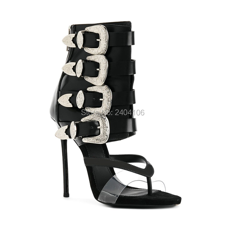 Shooegle Designer Luxury Shoes Woman Sexy High Heels Stiletto Leather Sandles Buckle Straps Thong Gladiator Sandals Summer Boots