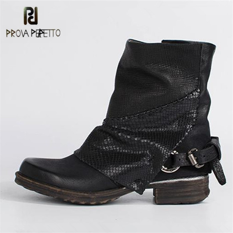 Prova Perfetto Patchwork Women Autumn Winter High Boots Flat Short Ankle Boots Genuine Leather Rubber Platform Shoes Woman Botas mabaiwan retro brown ankle boots for women metal decor autumn winter botas mujer genuine leather platform rubber shoes woman