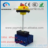 Isolator switch YMD11 100B/4P with padlock aluminum pole 100A Load break power cut off operation outside electrical cabinet