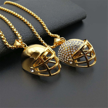 цена на Hip Hop Bling Gold Tone American Football Helmet Pendant Iced Out Stainless Steel Rugby Hat Necklace With 3mm Box chain