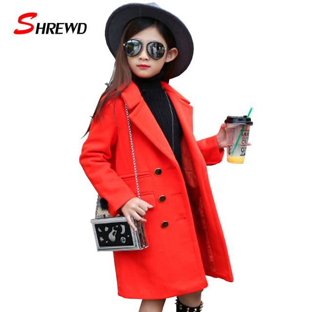 Girls Wool Winter Coats 2017 New Fashion Solid Color Simple Girl Kids Coat Long Sleeve Double-breasted Kids Clothes 5606W