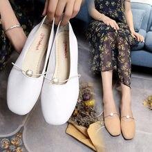 Encantadora perla PU cuero superficial mujeres pisos dedo del pie cuadrado  cómodos zapatos del barco Venta caliente moda señora . 68f144c67cbb