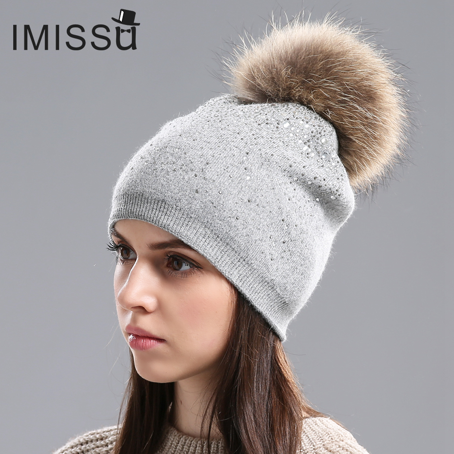 e3080e2369e IMISSU Winter Women s Hats Knitted Wool Casual Mask Raccoon Fur Pom Pom Hat  Crystal Solid Color Casquette Gorros Outdoor Cap-in Skullies   Beanies from  ...