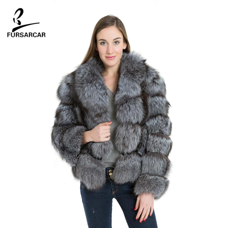 FURSARCAR Women Real Silver Fox Fox Coat Fashion Striped Style Turn Down Collar Thick Warm Fur One Pelt Short Fur Coat BF-C0169