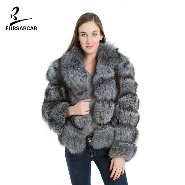 a204699adec FURSARCAR Women Real Silver Fox Fur Coat Fashion Striped Style Turn Down  Collar Thick Warm Fur One Pelt Short Fur Coat BF-C0169