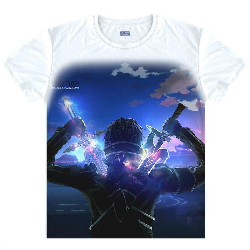 Sword Art Online SAO T-Shirt Kirigaya Kazuto Shirt fashion t-shirts men anime cosplay costume T Shirts japanese anime shirts a