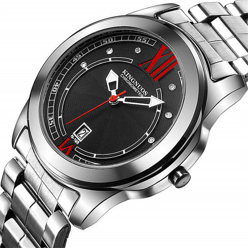 KINGNUOS Men Watch Authentic Brands Quartz Clock Watch Band Stainless Steel Red Black Calendar Waterproof Wrist Watches FD1354 daybird 3785 unisex quartz wrist watch w hollow calendar black red white silver 1 x lr626