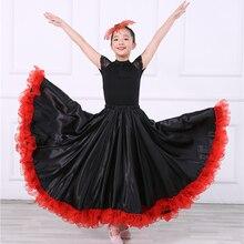 Детский испанский танец юбка юбки фламенко муньекад де фламенко эспаньолас танец Цыганская юбка женщина-540 градусов