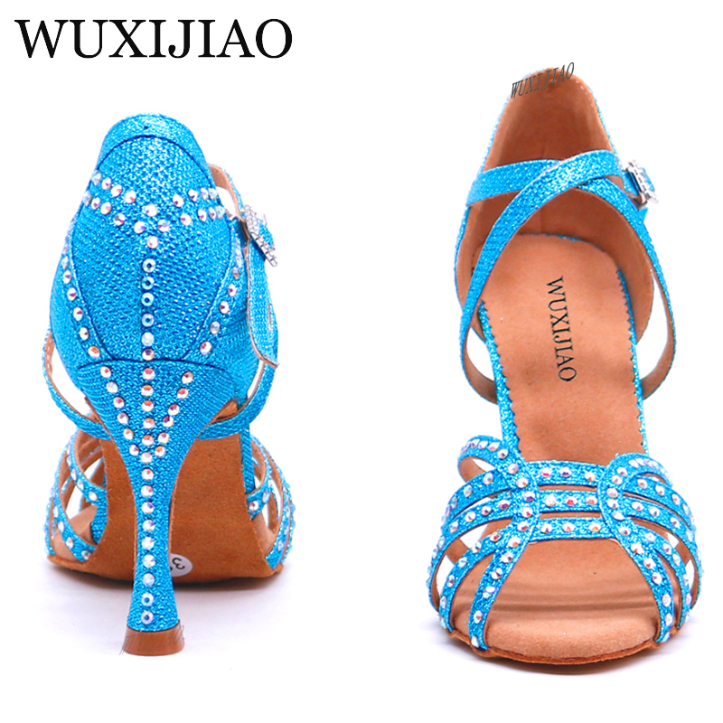 WUXIJIAO New Latin Dance Shoes Women's Shoes For Ballroom Dancing Woman Flash Cloth Collocation Shine Rhinestone 5cm 10cm