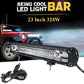 "324W 23"" Tri-row Car LED Light Bar CREE Chips Spot Flood Combo Beam Offroad Led Work Driving Light 4x4 4WD Truck SUV ATV Boat"