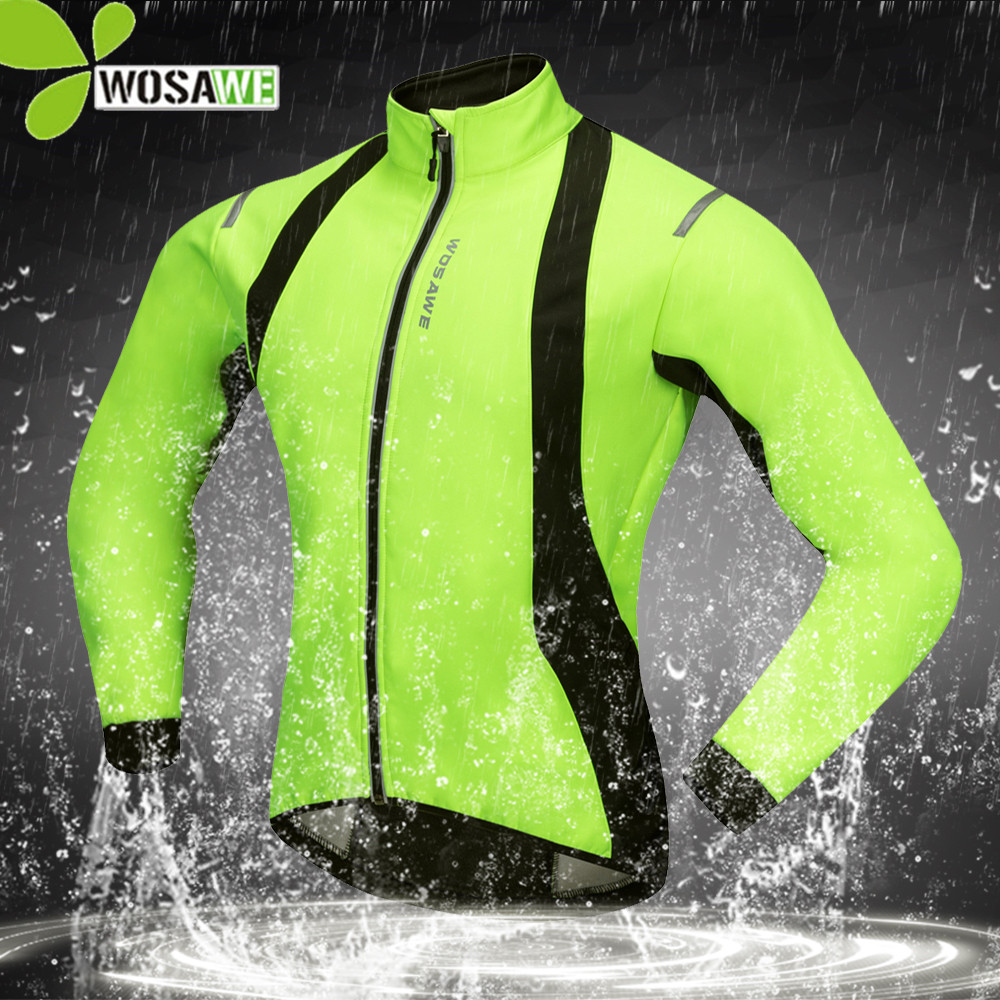 WOSAWE Waterproof Reflective Thermal Fleece Cycling Jackets Men Bike Bicycle MTB Coat Winter Clothes Cycle Windbreaker Clothing