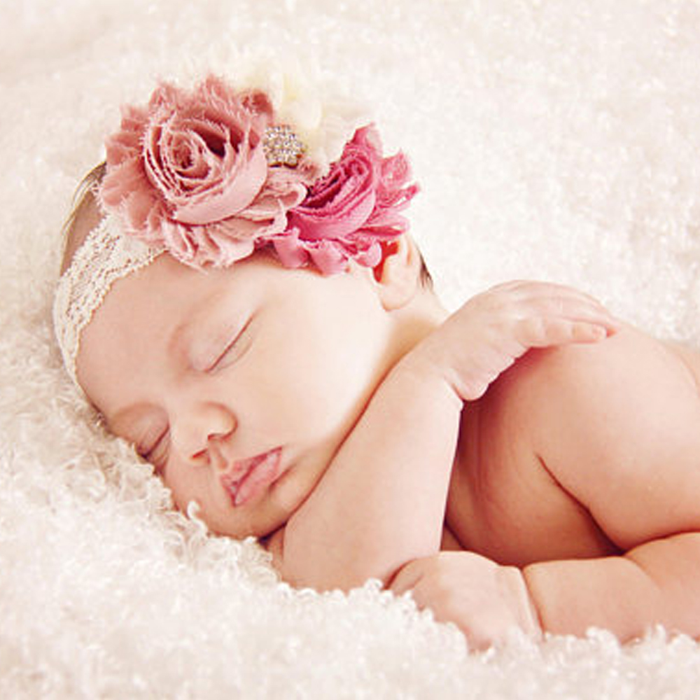 1pc Newborn Headband Baby Girls Shabby Flower Headbands Infant Wide Lace Headwrap Head Band Children Toddlers Hair Flowers