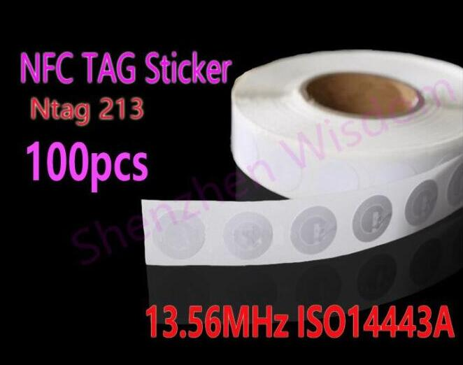 100pcs NFC Stickers Ntag213  RFID Tag 13.56MHz ISO14443A NFC Sticker for all NFC phones 4pcs lot nfc tag sticker 13 56mhz iso14443a ntag 213 nfc sticker universal lable rfid tag for all nfc enabled phones dia 30mm