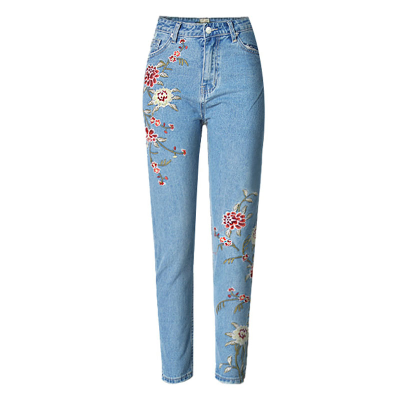 Vintage flower embroidery jeans female Pockets straight jeans women bottom Light blue casual pants capris summer J17334