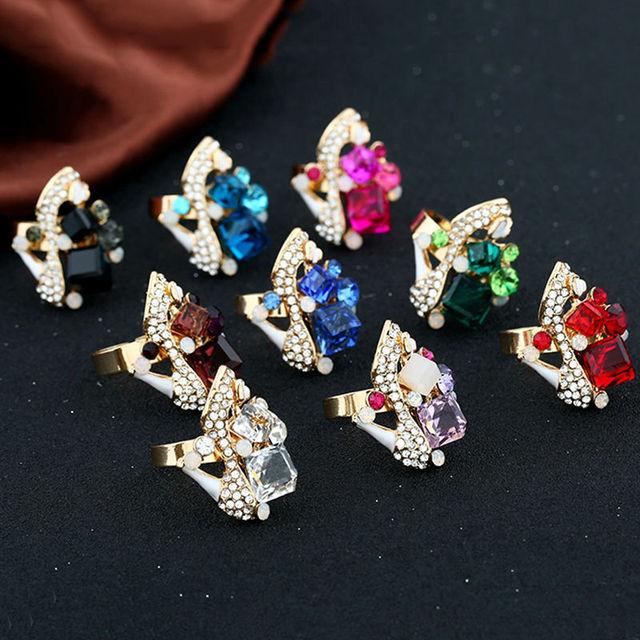 Big Adjustable Crystal Ring For Women