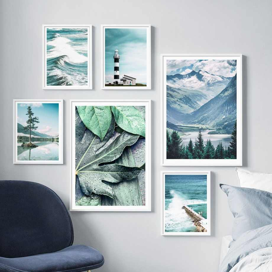 Sea Leaf Mountain Tree Landscape Wall Art Canvas Painting Nordic Posters And Prints Decoration Pictures For Living Room Decor