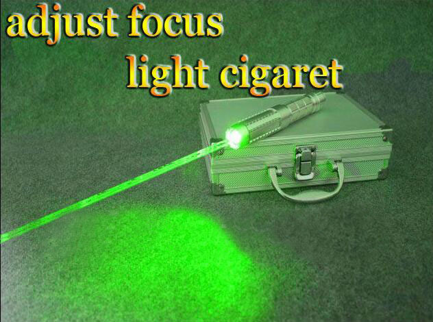 Professional Powerful! green laser pointers 532nm Burning Match cigar cutting paper plastic+5 caps+glasses+charger+metal cased