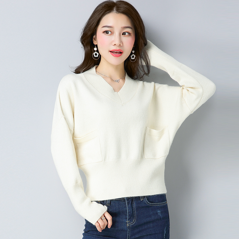 black coral Knitted Short pink Loose Korean Sweater Women's Blouse Beige Red purple Wear Jacket New Autumn army Jersey Winter Green red Style Sweater 2018 And wAg6PTn