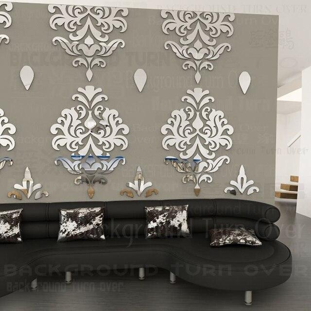 Elegant Abstract European Flower Reflective Mirror Wall Sticker Sofa Background Decoration R187