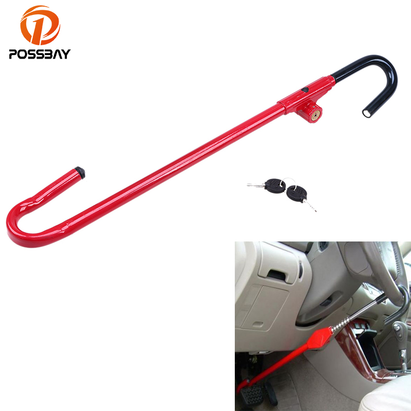 POSSBAY Red Car Steering Wheel Lock Pedal For Universal Truck Van Car SUV Anti Theft Security Device Saftey Interior Accessories