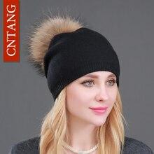 Осенне-зимние вязаные шерстяные шапки для женщин, модные шапки с помпоном, меховая шапка, женская теплая шапка с натуральным мехом енота