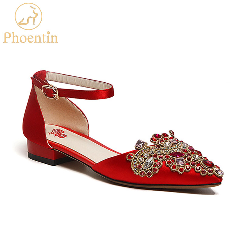 Phoentin china red wedding shoes crystal 2018 new square low heels pointed toe ankle strap women