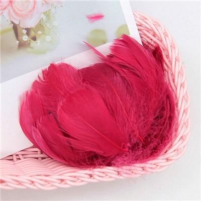 Разноцветные, 100 шт, гусиные перья, 8-12 см, гусиные перья, сценический шлейф, перья, промытый гусиный пух, пушистый шлейф для свадьбы, 3-4 дюйма - Цвет: wine red
