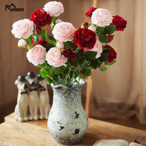 Top Meldel 3 Heads White Peony Bouquet Artificial Yellow Peonies Flowers Silk Roses Pink Wedding Home Spring Decoration Fake Flowers — stackexchange