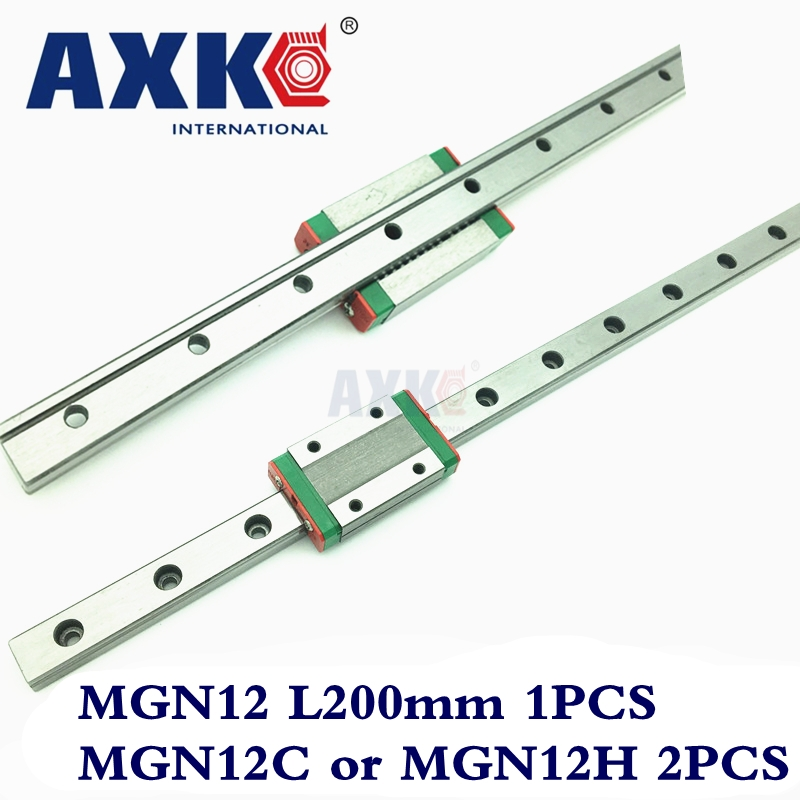 AXK MGN12 Cnc Router Parts Linear Rail 12mm Width 200mm Mgn12 Linear Guide Rail + 2pc Mgn Mgn12c or MGN12H Blocks Carriage Cnc 2018 new thrust bearing axk free shipping cnc linear guide rail mgn12 195mm guides a mgn12c block ball bearing steel material