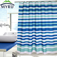 myru the blue striped shower curtain waterproof polyester shower curtain bathroom curtain
