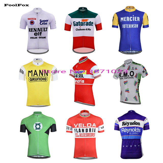 new men s 2018 pro team Cycling jersey retro classic Breathable Quick Dry  Anti-sweat bike Jersey FoolFox 1538b086a