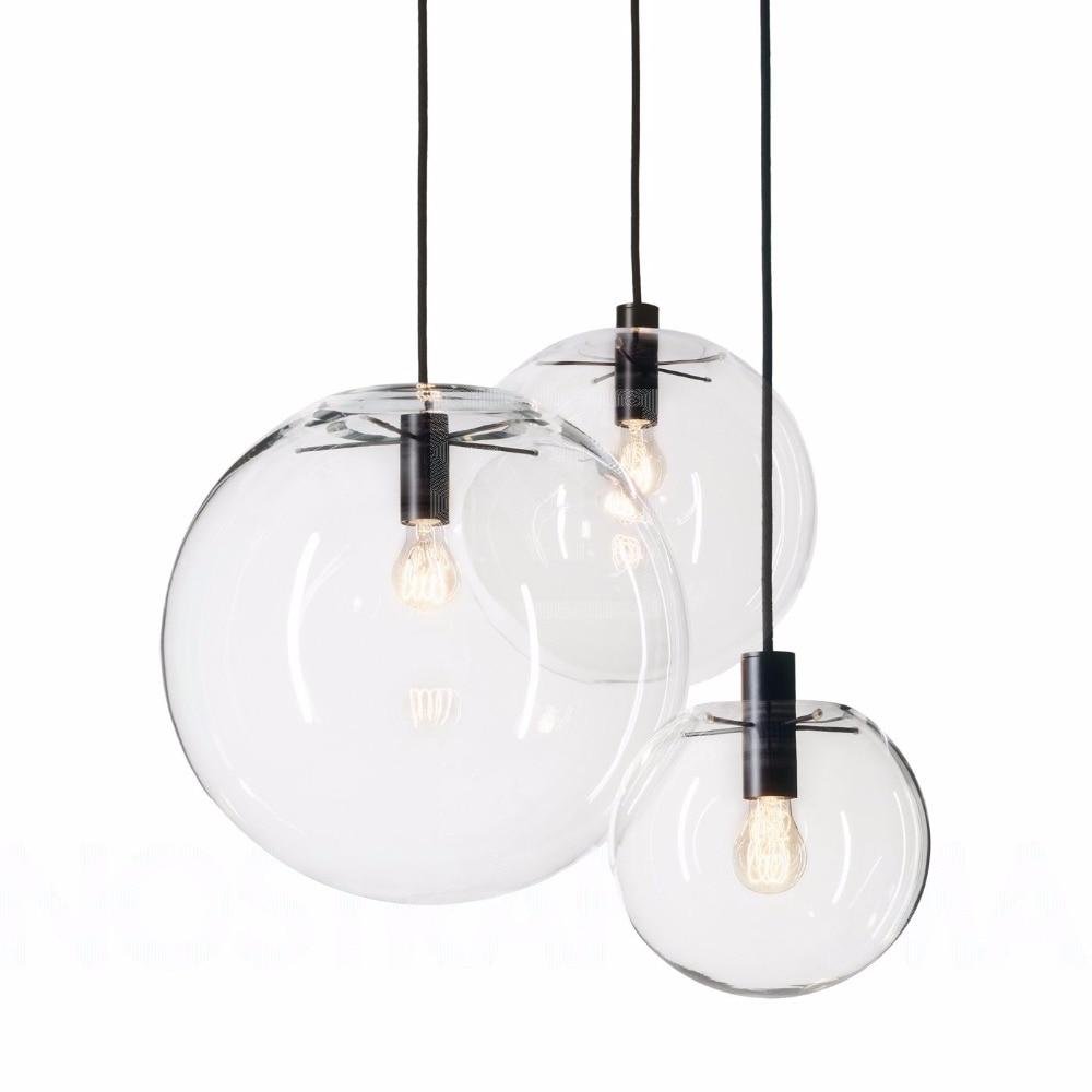 Modern Nordic Lustre Globe Pendant Lights Fixture Home Deco Glass Ball Pendant Lamp DIY E27 Suspension Clear Glass Hanging Lamp
