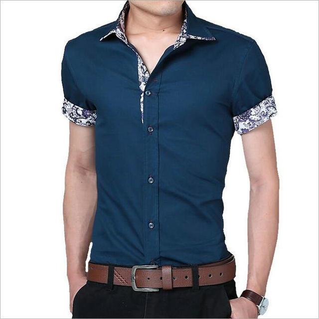 2017 Algodão Camisas Dos Homens Marca de Moda Camisa de Manga Curta Mens Camisas Casual Slim Fit Camisa Branca Masculina Camisa Social Masculina