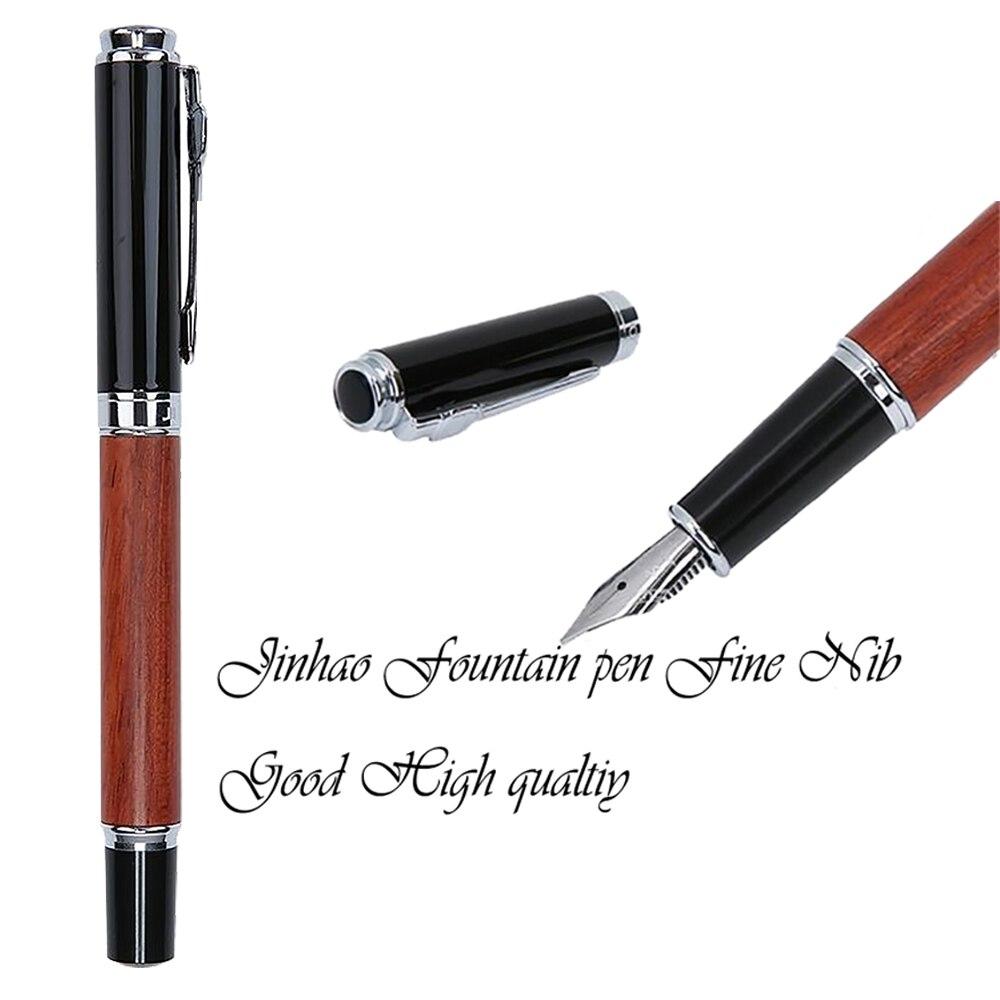 JinHao 650 o 8802 de madera de lujo pluma 0,5mm Punta Alta Calidad pluma de tinta para escribir artículos de papelería de la Oficina de la escuela suministros canetas