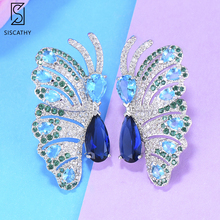 SISCATHY Charms Butterfly Stud Women Earrings Cute Cubic Zirconia Crystal Earring 2019 Party Accessories  Fashion Jewelry