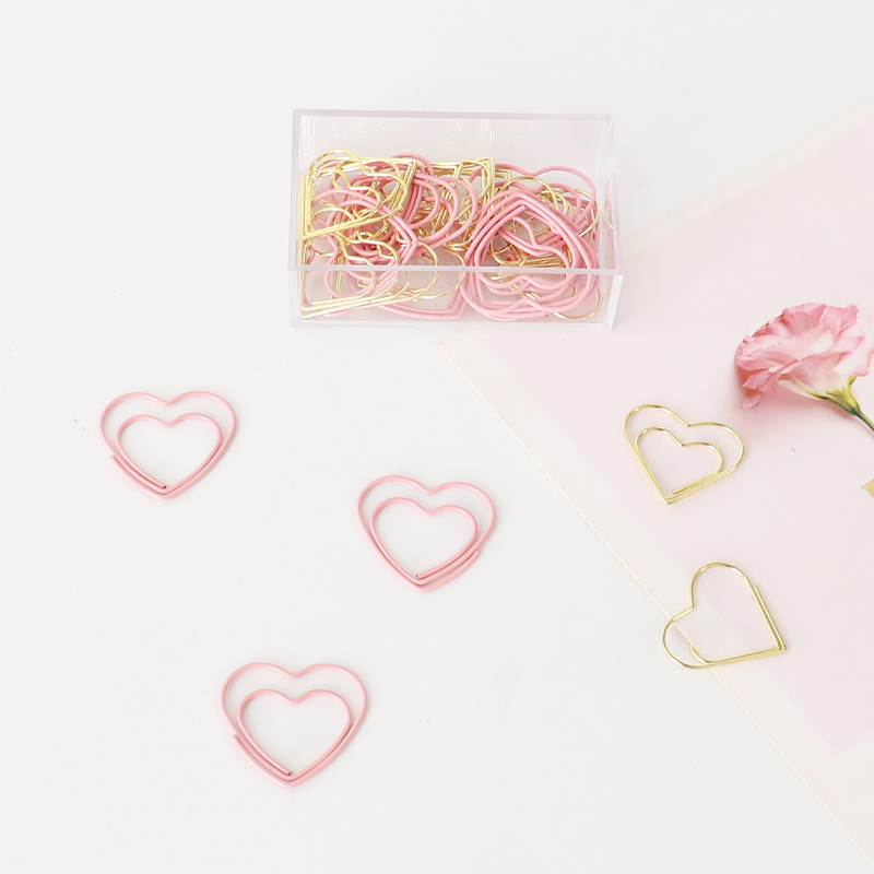 TUTU New Cute Pink Love Heart Design Office School Paper Clips Stationery,candy Student Bookmark,20pcs/box Free Shipping H0189