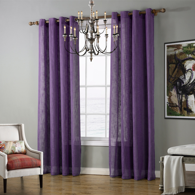 Sheer tulle curtains voile green blue purple curtains for living room 2017 fabric curtains for Lavender curtains for living room