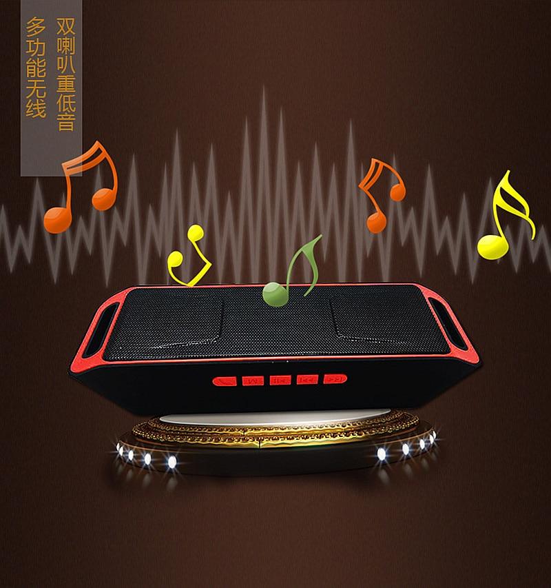 Wireless Mini Speaker Portable Bluetooth Speaker Amplifier Stereo Subwoofer Speakers TF USB FM Radio With Mic Dual Bass SPSC208