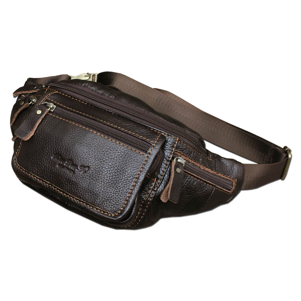 Genuine Cow Leather Casual Travel Waist Pack Fanny Bag Men's Cross Body Shoulder Bag Male Cowhide Messenger Bags Coffee Color brand genuine leather 9 casual travel bag men s cross body shoulder bag male cowhide messenger bags belt waist pack case