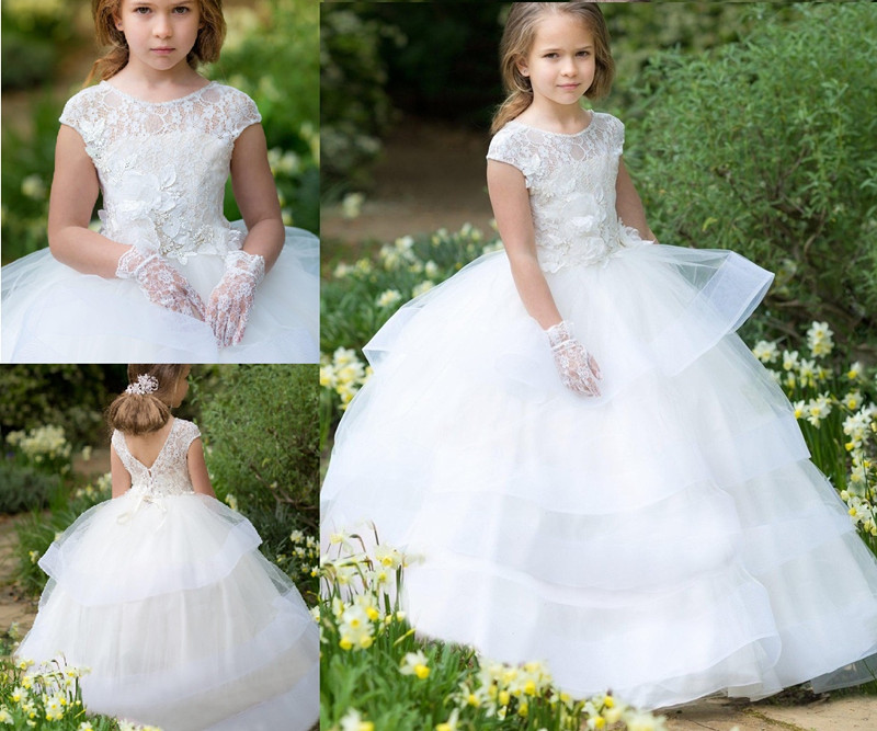 White Ball Gown   Flower     Girl     Dress   for Wedding Lace Scoop Neck Tiered Organza   Girls   Communion   Dress   Pageant Gown Custom Made Size