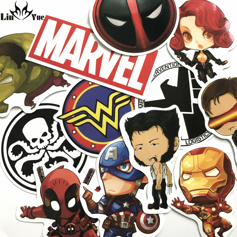 NEW 12pcs/lot DC MARVEL deadpool stickers backpack Hulk wonder woman car accessories motorcycle bike travel case car-covers