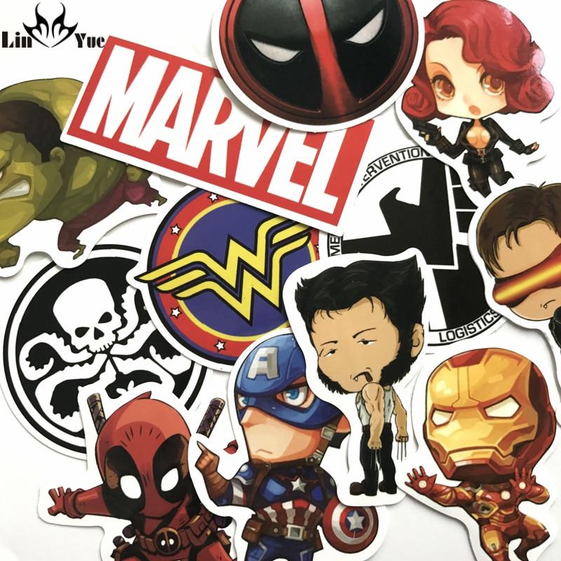 NEW 12pcs/lot DC MARVEL Deadpool Stickers Backpack Hulk